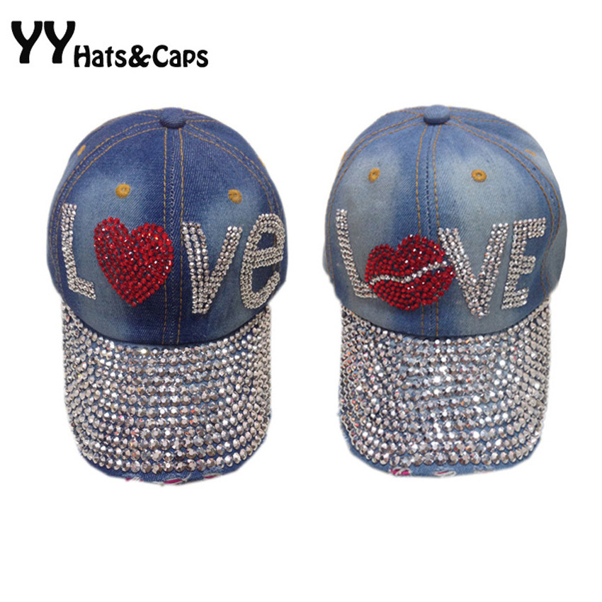 Жан Көтерме Bling Diamond Brilliant Glass Denim Caps Әйелдер LOVE Baseball Cap Men Жазғы Sun Hat Rhinestone 1 дана / lot YY0738