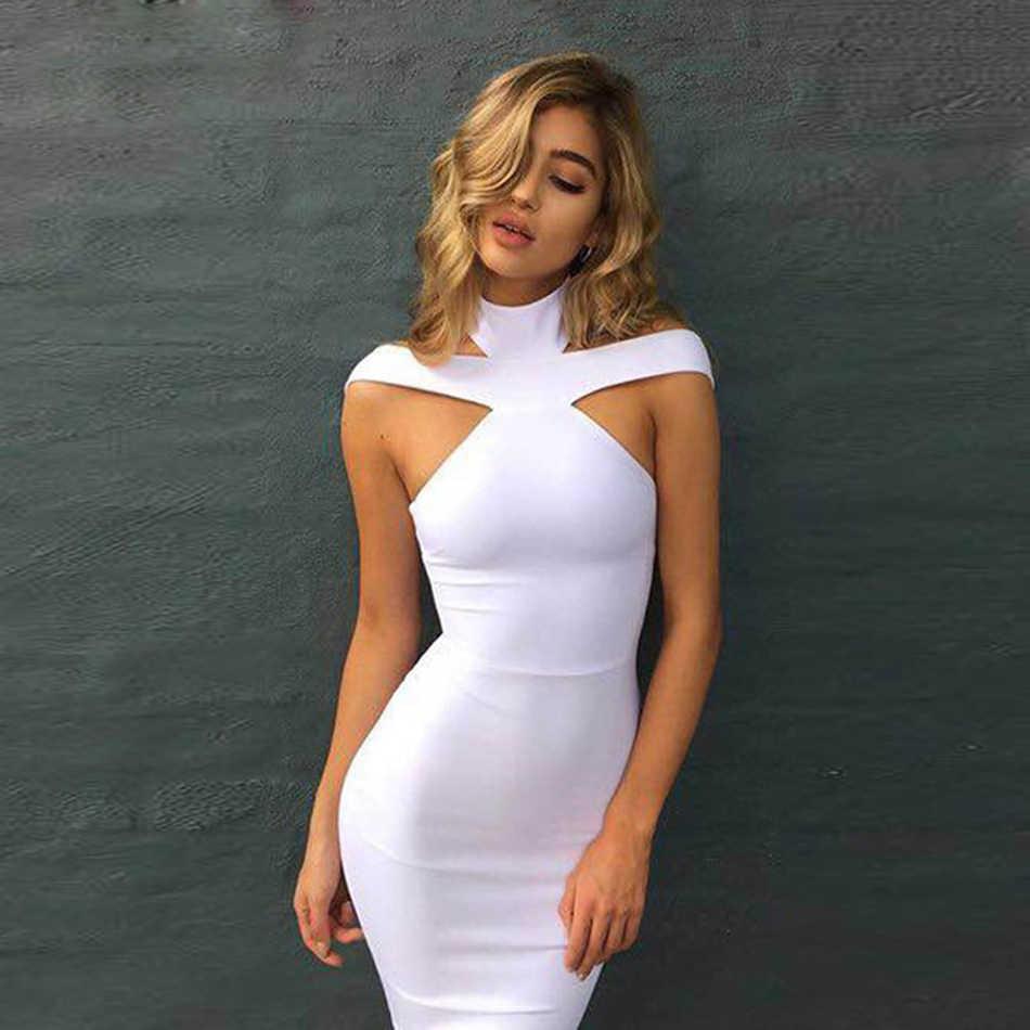 2019 nuevo caliente negro blanco albaricoque Sexy señora fuera del hombro Halter espalda descubierta noche fiesta vendaje vestido Bodycon Clubwear