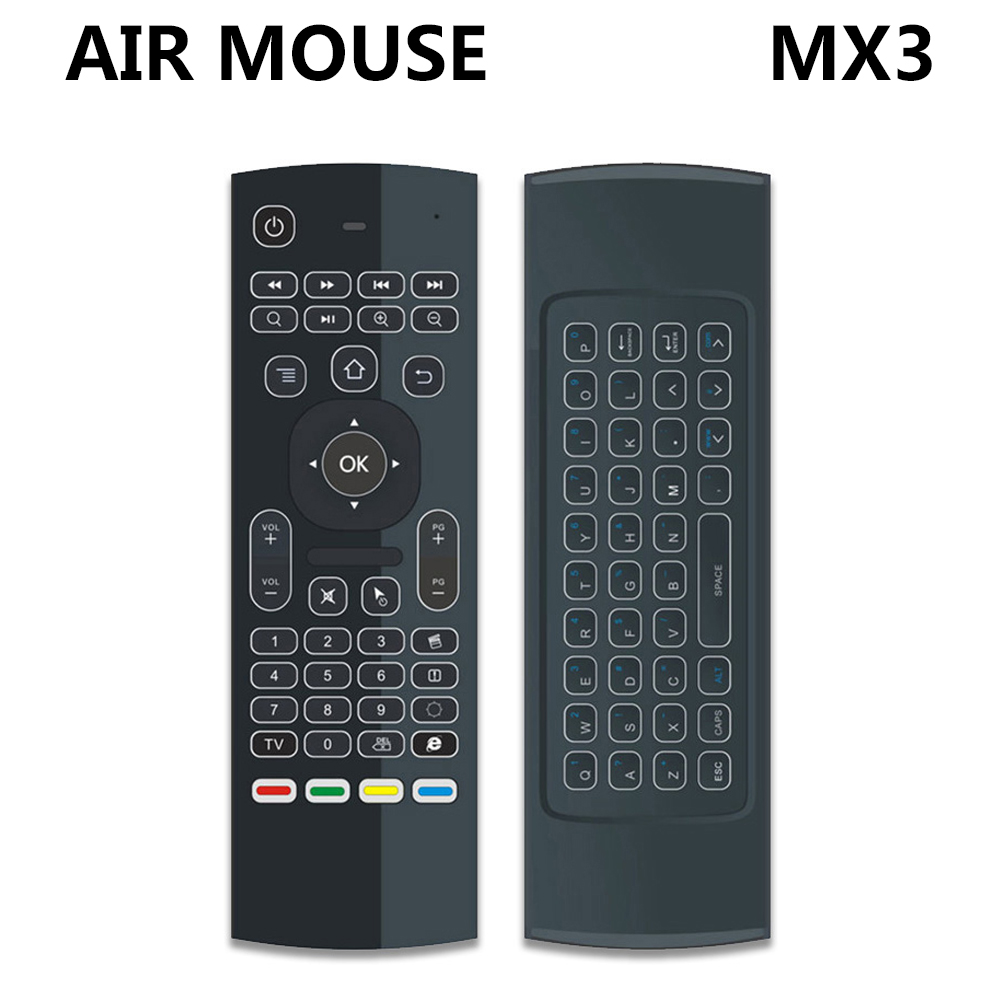 MX3 MX3-L Retroilluminato Air Mouse T3 Prodotti e Attrezzature Smart per il Controllo Remoto 2.4g RF Tastiera Senza Fili Per X96 tx3 mini A95X H96 pro Android TV Box