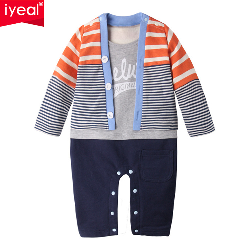 IYEAL New Fashion Toddler Baby Rompers Cotton Knit Fake Two Pieces Infant Jumpsuits Boy Clothing Sets Newborn Baby Clothes цена