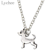 Lychee Trendy Alloy Retro Dog Pendant Necklace Women Chihuahua Poodle Dachshund Pug Silver Color Necklace Female Jewelry(China)