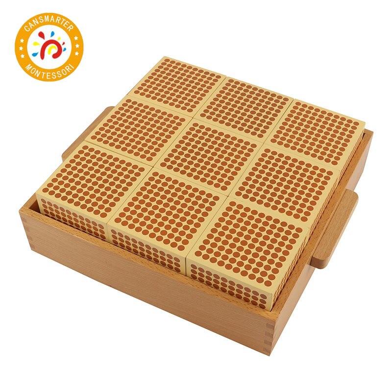 Montessori bébé jouet 9 bois mille Cubes mathématiques formation préscolaire apprentissage précoce enfants jouets