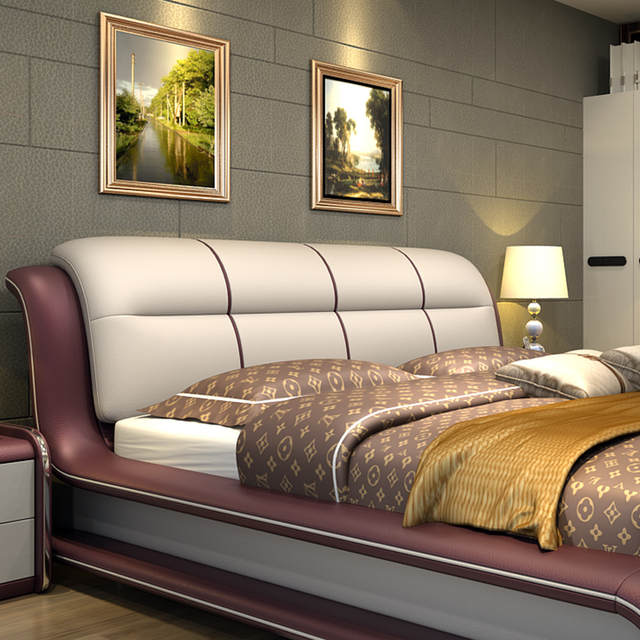 US $1320.0  Modern bedroom furniture bed with genuine leather M01-in Beds  from Furniture on Aliexpress.com   Alibaba Group