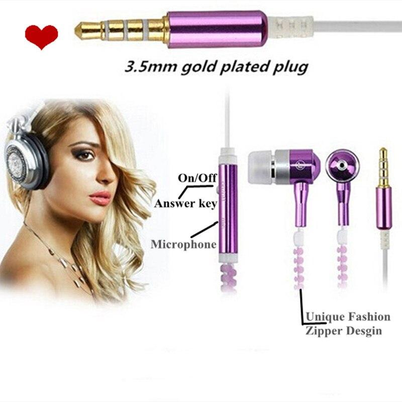 Moda zíper de metal fone de ouvido luminosa brilhante iluminação noturna música fone de ouvido estéreo com microfone handsfree para iphone samsung xiao