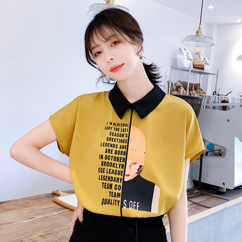 Women shirt Alphabet Printed Girl Chiffon Shirt 2019 Summer Short Sleeve Satin Blouses Shirt Women Tops satin silk blouse 81A7 in Blouses amp Shirts from Women 39 s Clothing