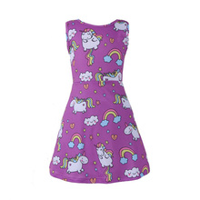 Summer Butterfly Girls Unicorn Dress Children Cartoon Floral Party Birthday Sleeveless Dresses Kids Baby Princess Clothes цены