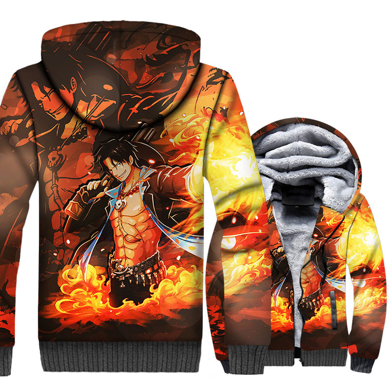 Anime One Piece Portgas.D.Ace Hoodie Men Luffy Sweatshirt Winter Thick Fleece 3D Print Cool Jacket The Pirate King Coat Clothing