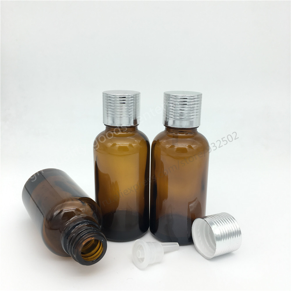 500pcs/Lot 30ml 1Oz amber glass bottle with Acid & Alkali Resistant Phenolic Screw cap for Light Sensitive Material Storage