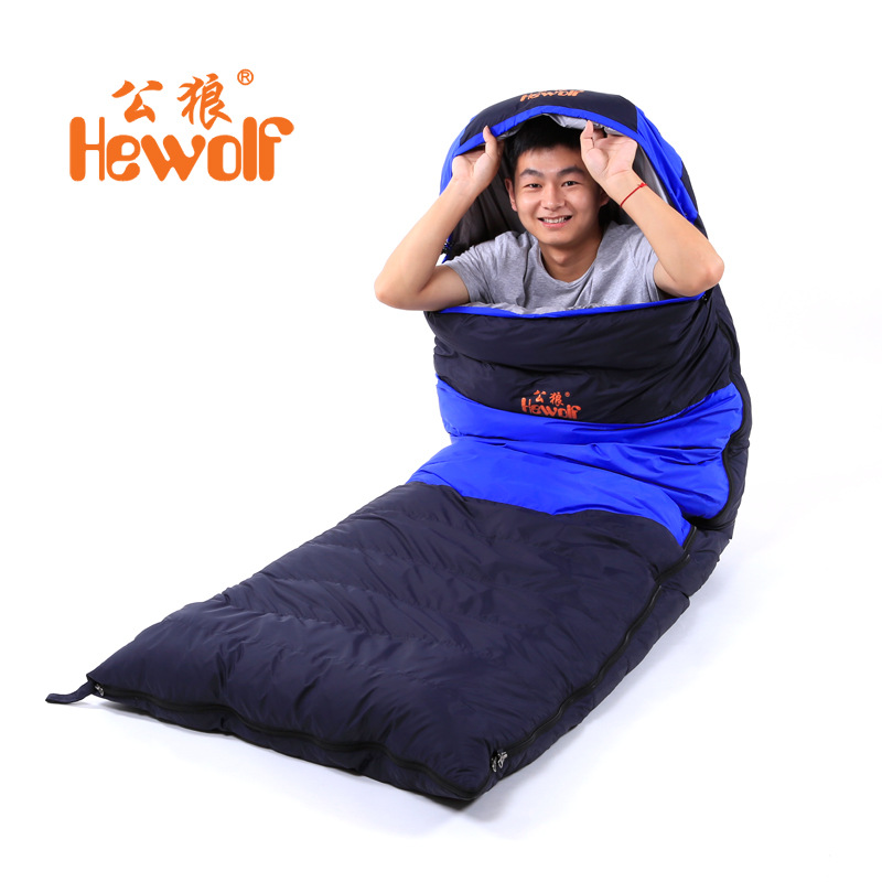 Envelope-style winter adult single down sleeping bag warm thickened mountaineering camping lunch break outdoor sleeping bags creeper cr sl 002 outdoor envelope style camping sleeping bag w hood royalblue dark blue