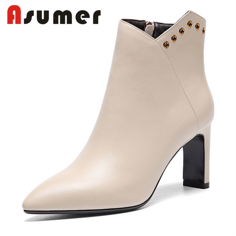 ASUMER 2018 FASHION solid simple ankle boots for women adult pointed toe high heels boots zip sexy winter genuine leather bootsASUMER 2018 FASHION solid simple ankle boots for women adult pointed toe high heels boots zip sexy winter genuine leather boots