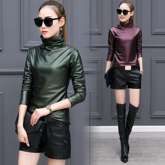 European punk plus size women blouse autumn turtleneck long sleeve tops shirt ladies velvet stretch camisas PU leather blouses 2