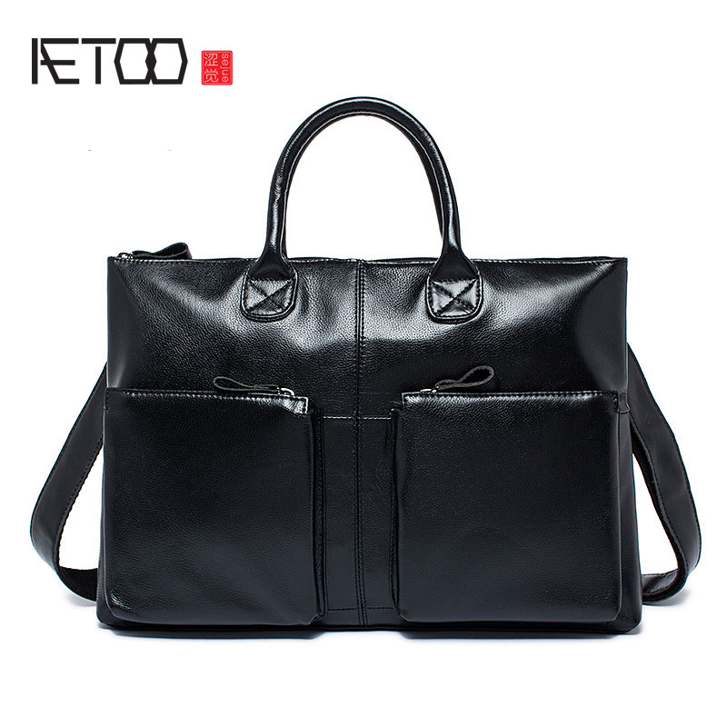 AETOO Men bag wholesale men's shoulder bag leather first layer cowhide business briefcase handbag aetoo first layer of leather foreign trade shoulder oblique cross package leather square notebook handbag business briefcase men