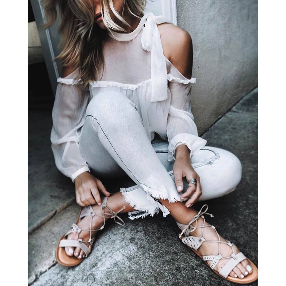2017 New Spring Summer Bow Long sleeved Women Chiffon Blouse Shirt Halter Neck Cami Cold Shoulder