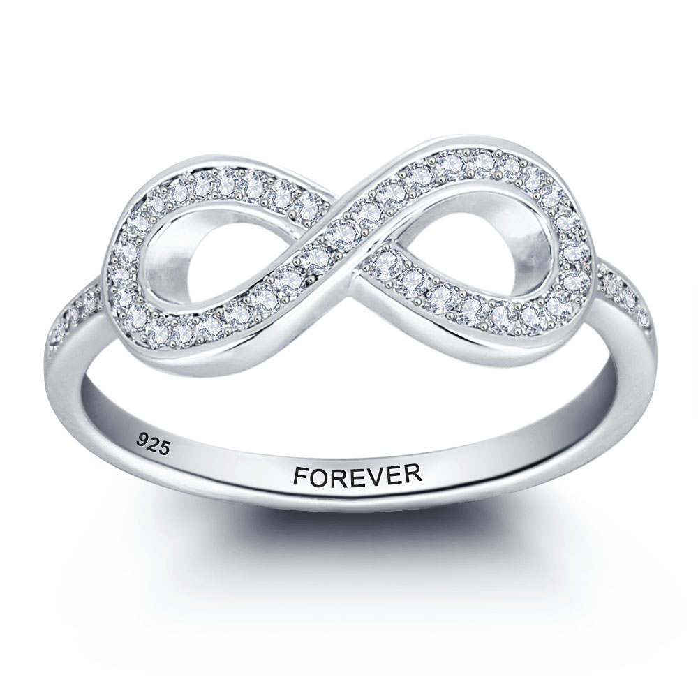 Lover' Gift Personalized 925 Sterling Silver Promise Names Ring For Women  Jewelry Engagement Infinity Wedding