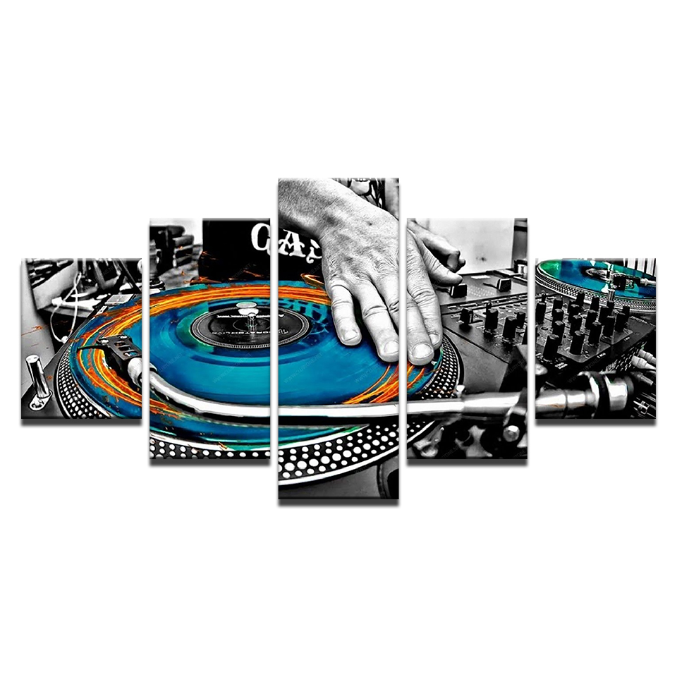 5 Piece Canvas Art Music DJ Console Instrument Mixer Paintings on Canvas Wall Art for Home Decorations Wall Decor Framework in Painting Calligraphy from Home Garden