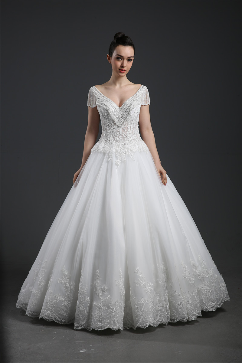 Wholesale Wedding Dress  A line Chiffon beading Floor length Train Custom made Plus size WD56904