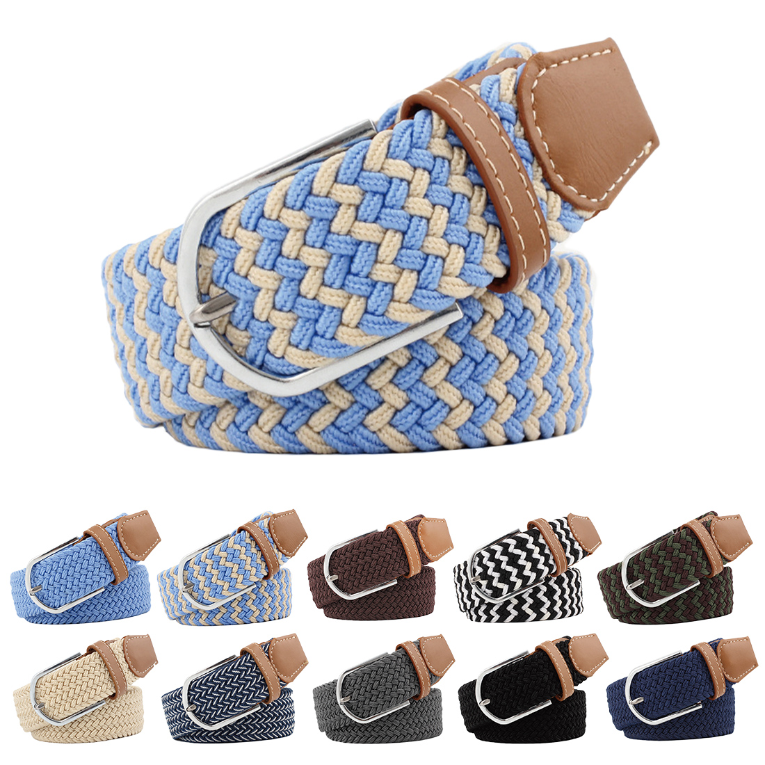 New Design Elastic Fabric Braided Belts for Male & Female Candy Colors Belt New Style Belt Accessories Waist Belts