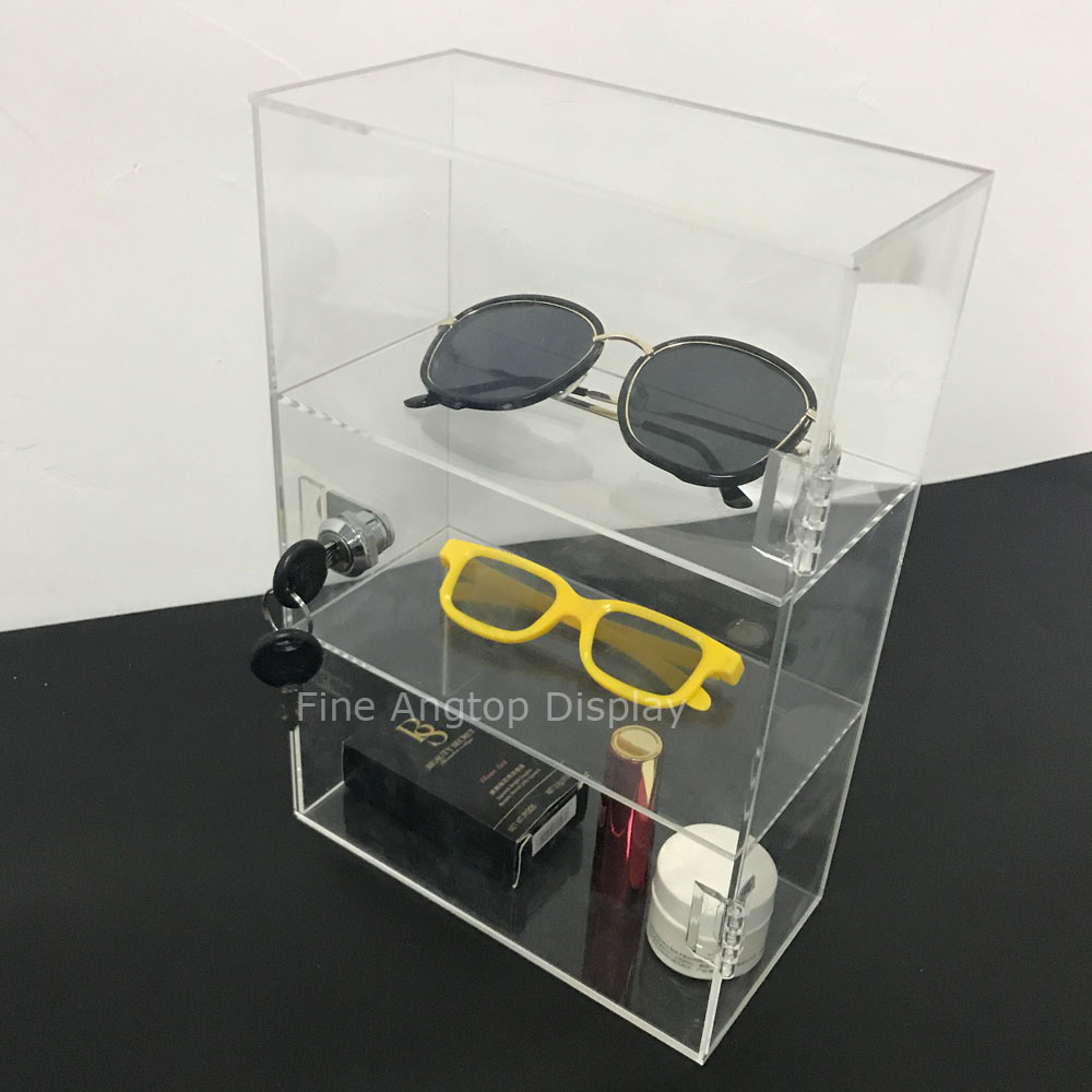 3 Compartment Acrylic Sunglasses Eyewear Display Case Cabinet Storage Box With Hinged Lid