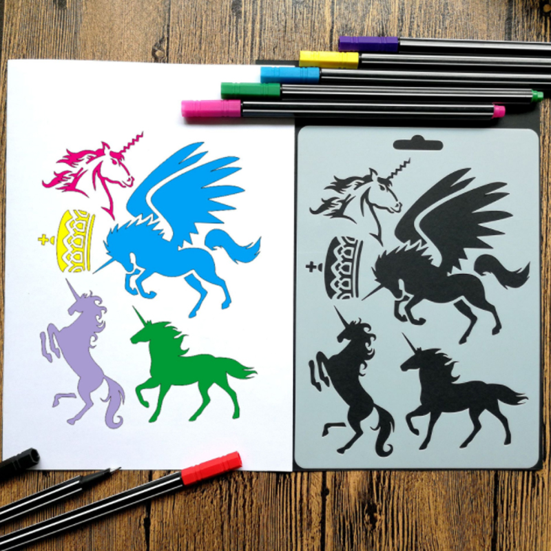 DIY Unicorn Painting Template Decoration Journal Stencil Set Art Diy Ablum Diary Scrapbooking Stamp Crafts Stationery