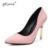 Gtime 2017 весна элегантный ол обувь одного мелкая рот острым носом туфли на высоком каблуке тонкие каблуки сексуальные розовые женщины насосы # zws85