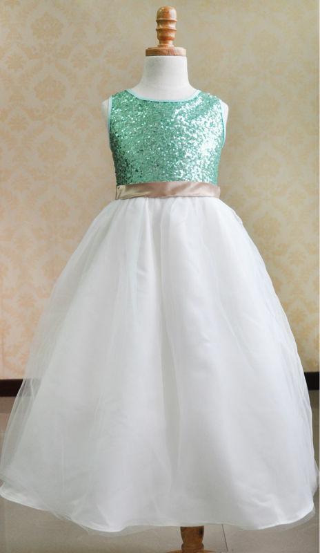 ФОТО Lovey  Sequin Elegant Princess Flower Girl Dresses 2016 Sleeveless A-Line Pageant Dresses First Communion Dresses For Girls