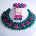 laanc Trendy Army Green and Hot Pink big african beads jewelry set nigerian wedding  crystal  C2570