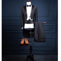 Custom Made Mens three-piece Suits With Pants For Wedding Groom Slim Fit Costume Homme Mens Black Party Tuxedo Tailcoat