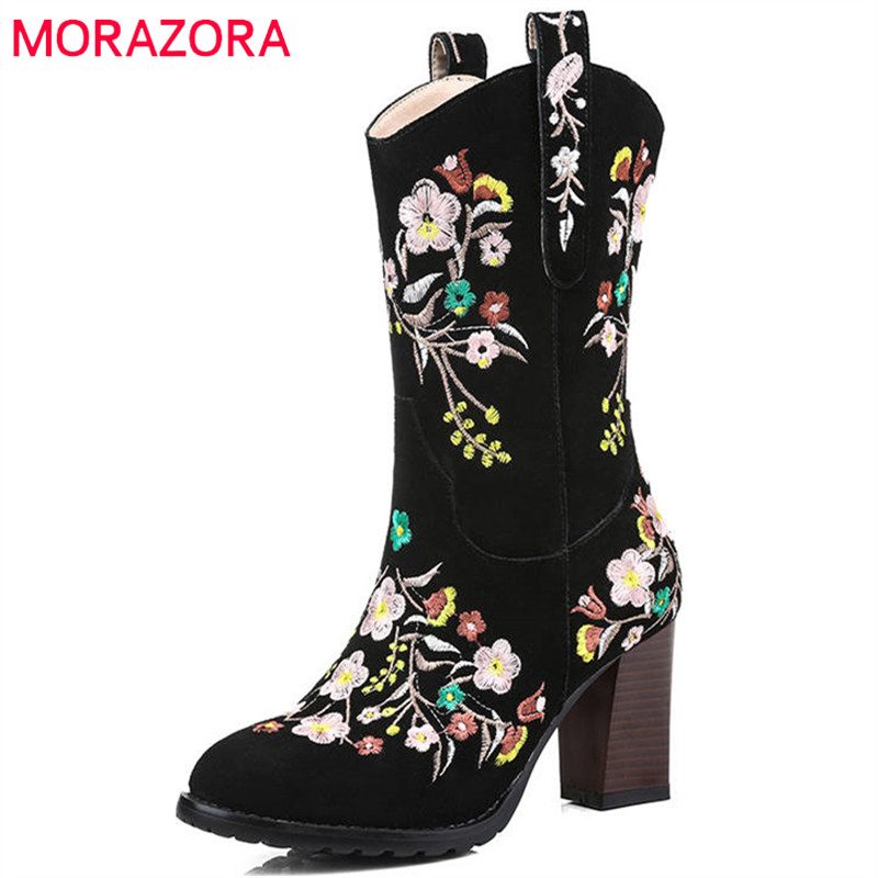 MORAZORA 2018 fashion hot sale new ankle boots for women slip on Chinese style embroider autumn boots high heels shoes woman MORAZORA 2018 fashion hot sale new ankle boots for women slip on Chinese style embroider autumn boots high heels shoes woman