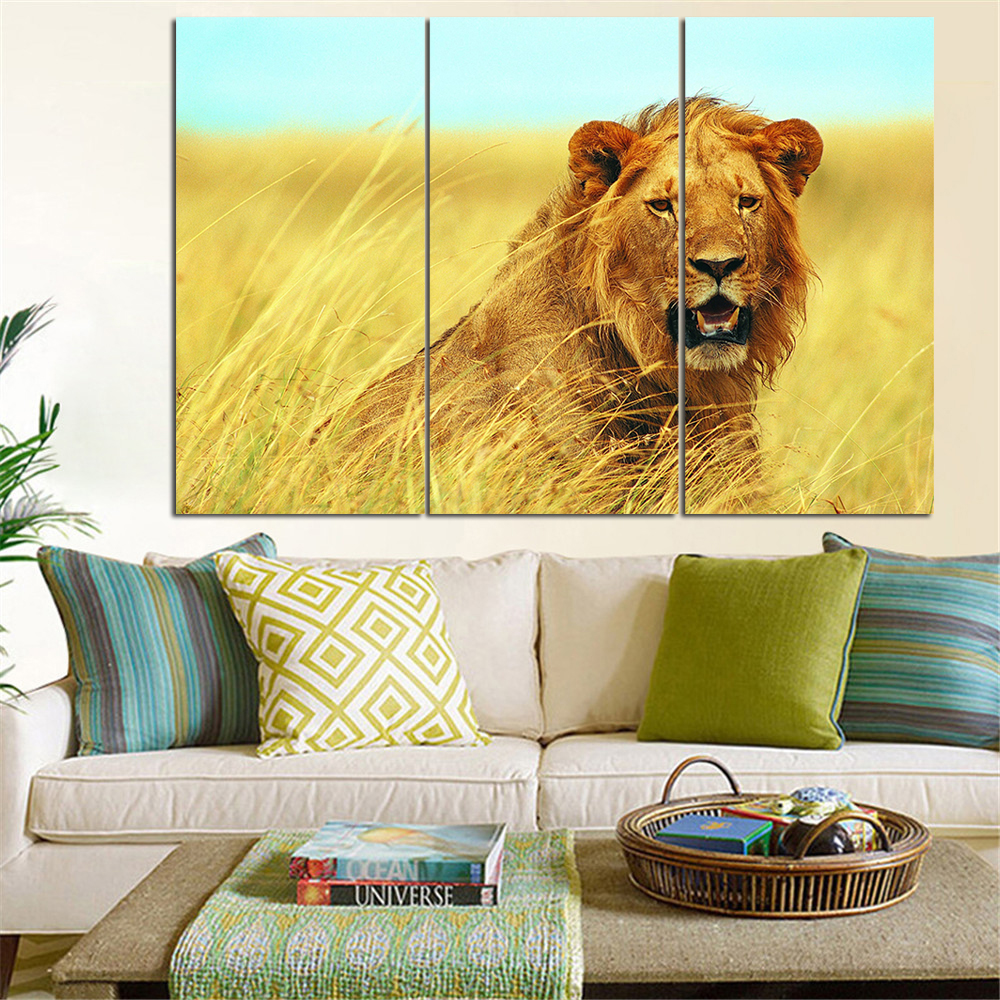 No Frame Animal Oil Painting Lion King Posters Wall Art and Prints Home Decor Modern Canvas Pictures for Living Room 3 Pieces-in Painting & ...
