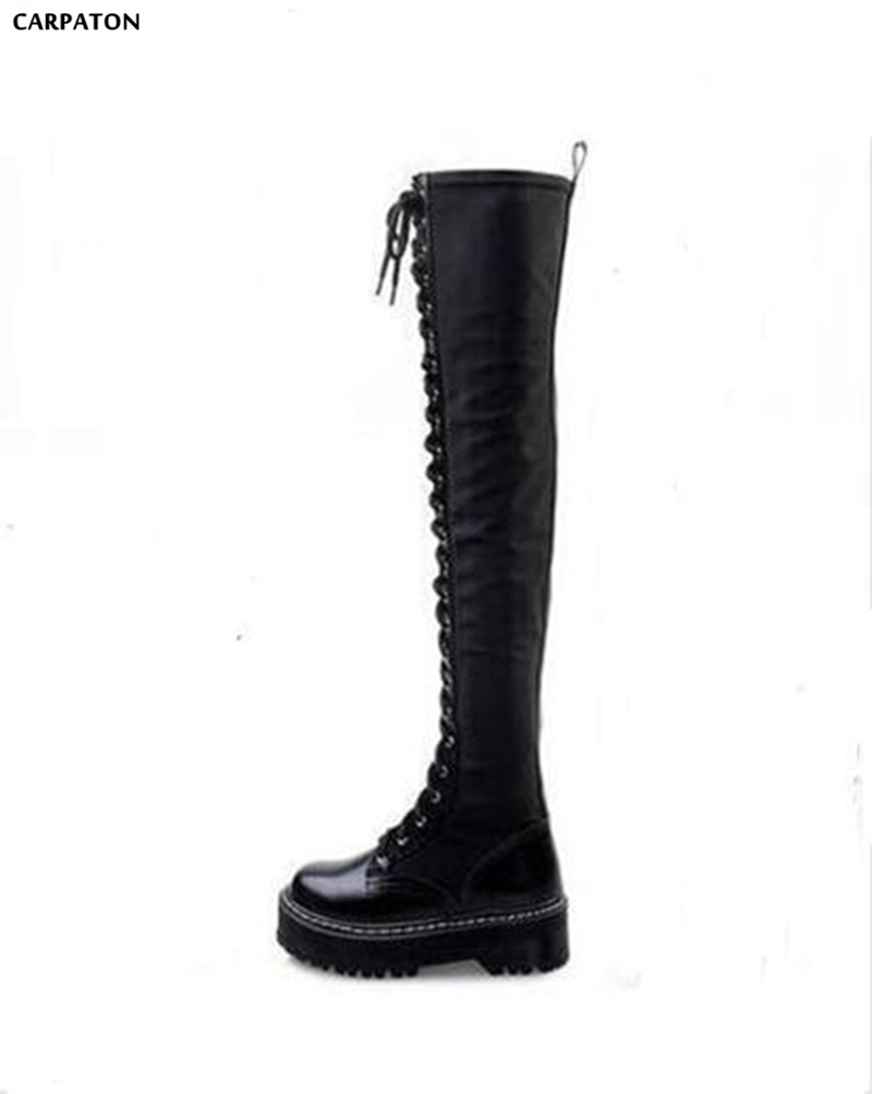 Carpaton Western Style Punk locomotive Martin boots Women Autumn Thick Bottom Straps PU Leather Over-the-knee High Boots