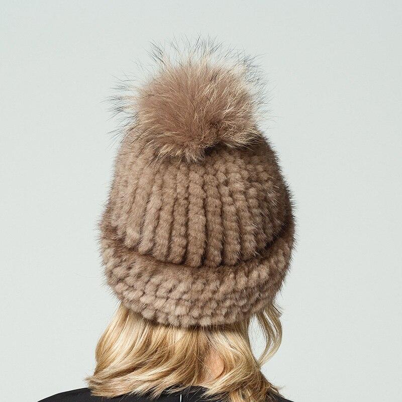 Véritable naturel vison fourrure bonnets hiver fourrure chapeaux pour femmes 2017 nouveau bonne qualité chapeau épais chaud chapeau de pompons russe fourrure casquette - 3