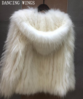 Hooded Natural Fur Coats Raccoon Fur Knitted Jackets Women Real Genuine Fur Outerwear