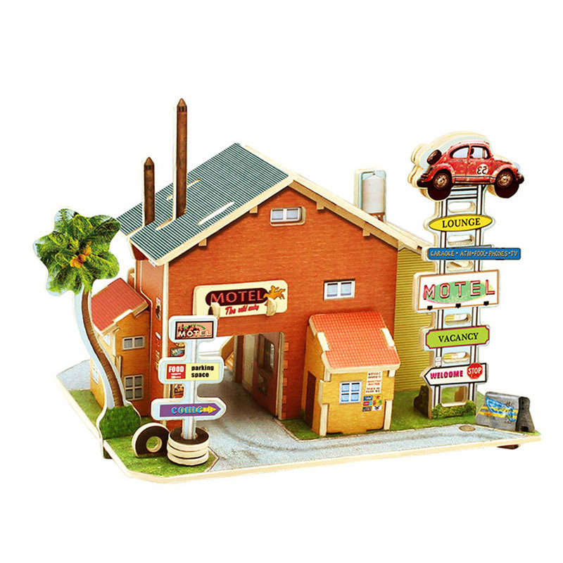 Creative Toys Wooden House Wooden Toys Children Educational Motel 3D Puzzle Jigsaw Toy children s early childhood educational toys the bear change clothes play toys creative wooden jigsaw puzzle girls toys
