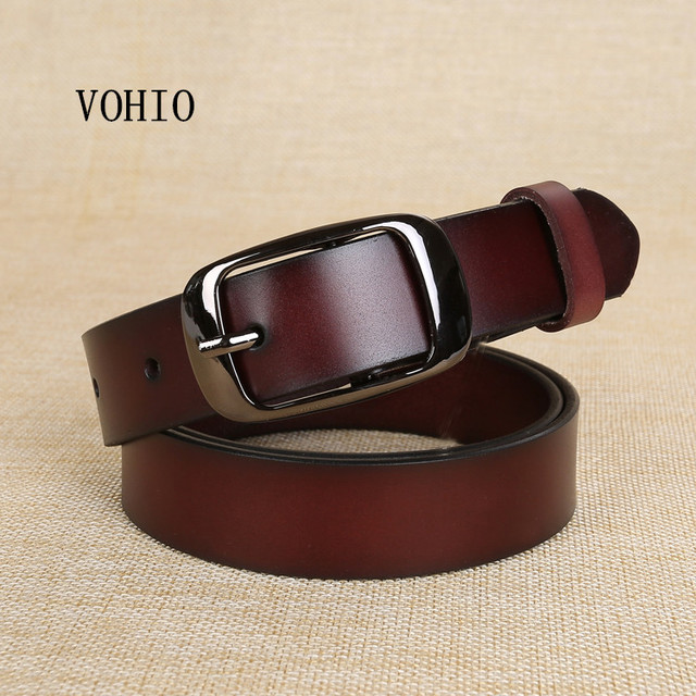 ff78209355ea3 VOHIO New Designer Fashion Women s Belts Genuine Leather Brand Straps  Female Waistband Pin Buckles Fancy Vintage for Jeans Pure