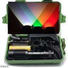 Branco Verde Vermelho Luz 4000 lumens Zoomable Tactical LED Caça Luz Lanterna + carregador de Bateria + Interruptor de Pressão De Montagem + caixa
