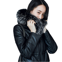 100% Real Sheep Leather Jackets 2018 New Winter Duck Down Long Coat Natural Fox Fur Genuine Leather Jacket chaqueta mujer LX335