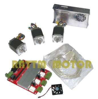 3 Axis CNC kit 3pcs Nema23 270 oz-in stepper motor 23HS8430 + 3 axis CNC board and 350W 24V power supply image