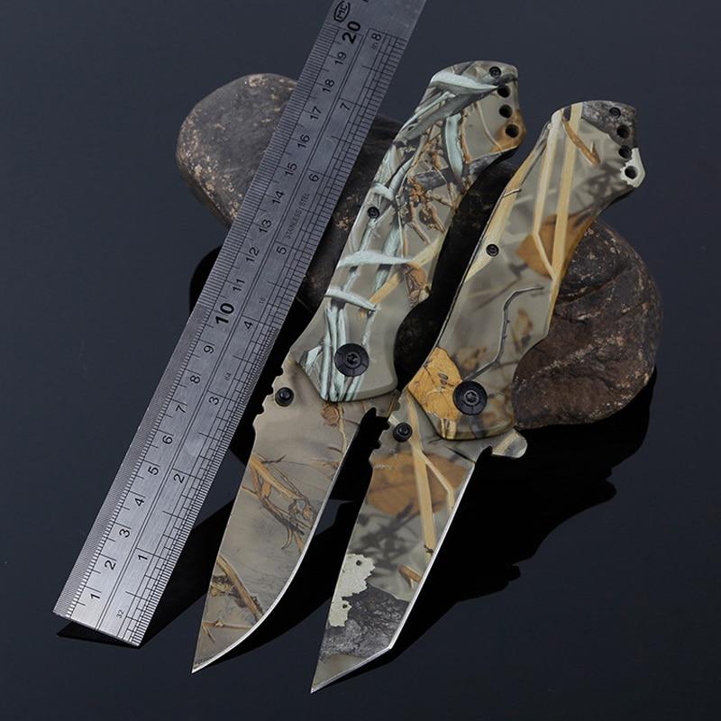 Coltello pieghevole tattico da caccia mimetico da caccia all'aperto Coltello da sopravvivenza militare Coltelli da campeggio