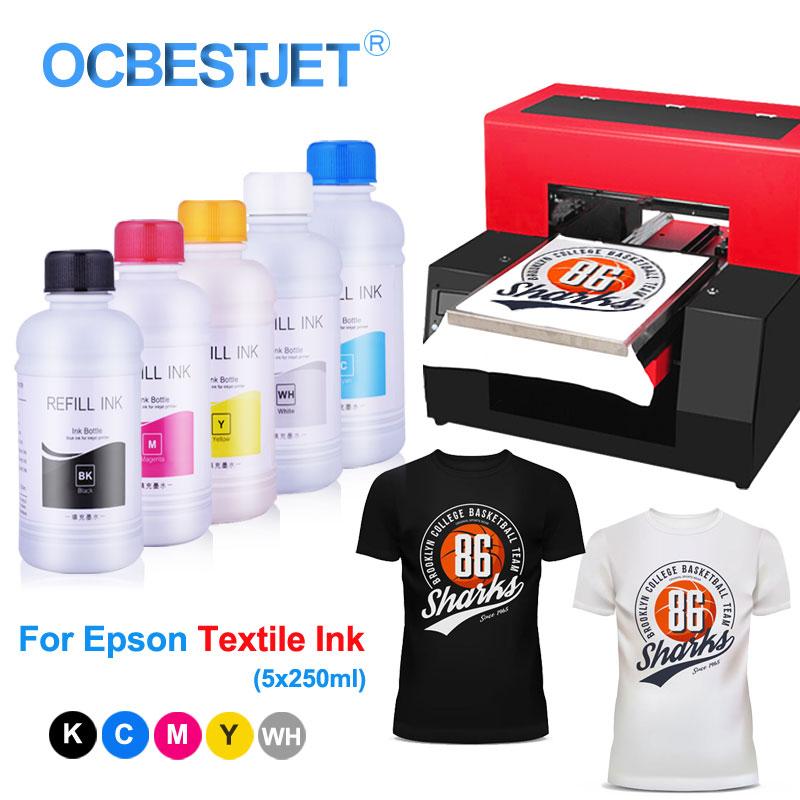 5x250ml Textile Ink Bottle For Epson P50 L800 L805 L1800 R1900 R2000 R3000 DTG Ink For Textile Print Textile Ink For Dtg Printer|Ink Refill Kits|   - AliExpress