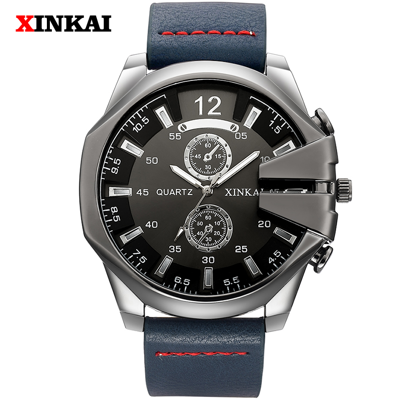 Cool Punk Militray Men Watch Brand Top Luxury Leather Quartz Male Watches Waterproof Retro Fashion Black Clock Relogio