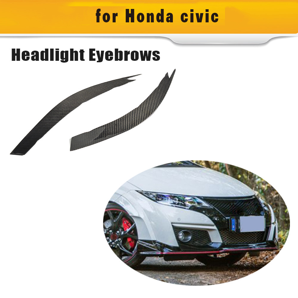 Dry Carbon Fiber Headlight Eyebrows Sticker Decoration Trim For Honda Civic T R 2015 2016 Pure Carbon Dry FRP