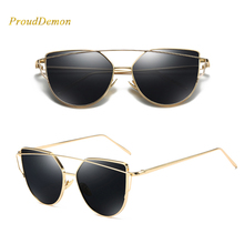 Metal Reflective flat lens Sun Glasses Female oculos