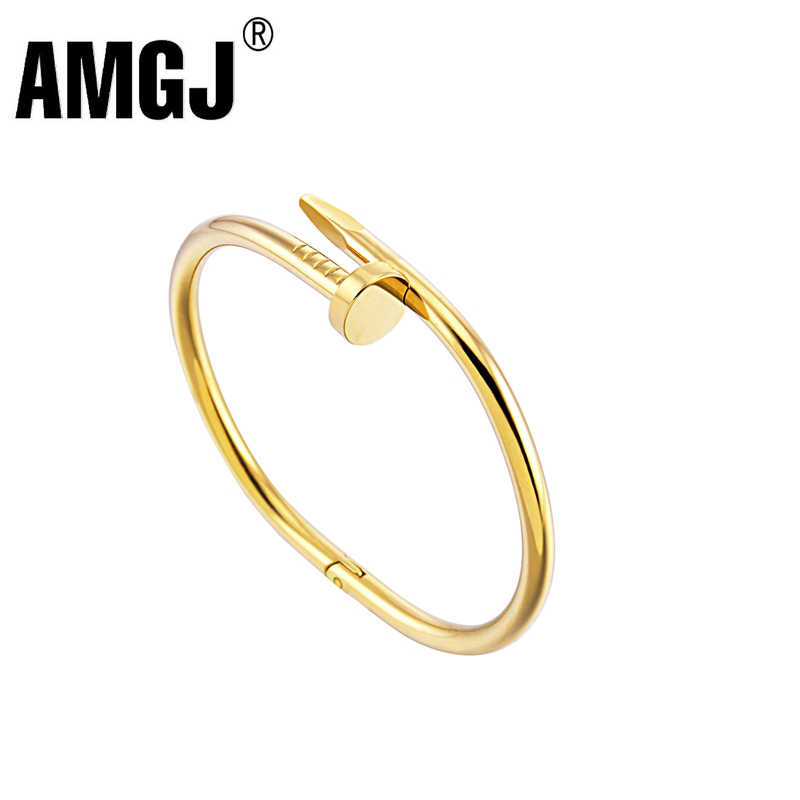 AMGJ Screws Nail Cuff Bangles Copper Love Bracelets for Women Gold Pulsera Jewelry Stainless Steel Screw Bracelet