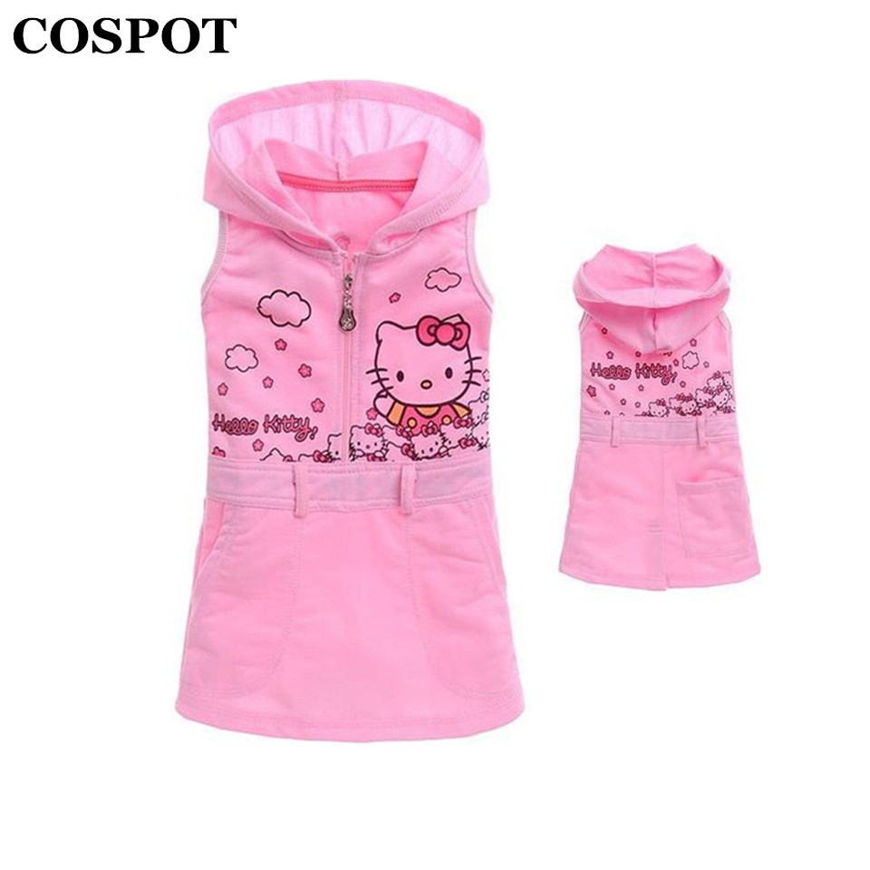 COSPOT Girls Summer Dress Baby Girl Sleeveless Sundress Girl's Cute Hooded Hoodies Dresses Kids Summer Pink Dress 2017 New 28E