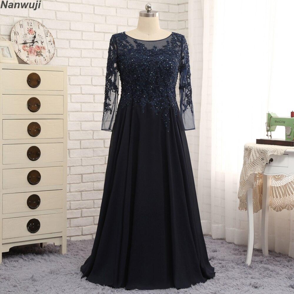 Grande taille col haut musulman robe de soirée à manches longues bleu marine couleur dos fermé en mousseline de soie pas cher robe de bal robe formelle