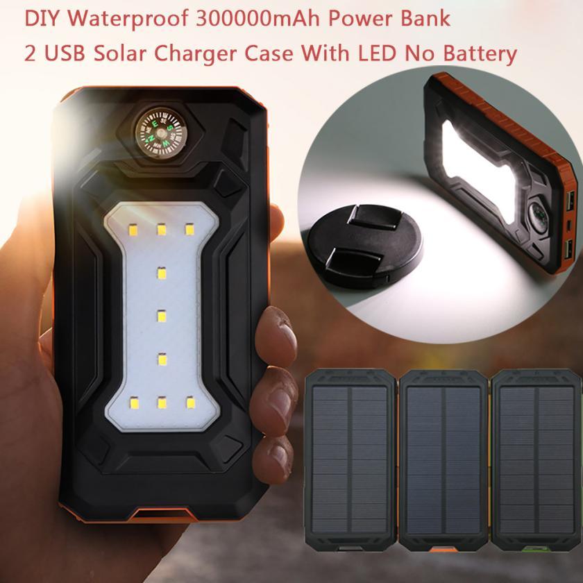 Binmer DIY Étanche 300000 mAh Puissance Banque 2 USB Solaire Chargeur Cas Avec LED Aucune Batterie DE28 Drop Shipping