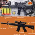 CS Game Shooting toy Gun Nerf Air Soft Gun Airgun M4A1 Gun Pistol & Soft Bullet Gun Plastic Toys + 6 EVA Foam bullets