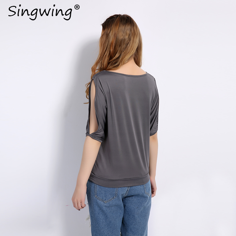 HTB1WsE6RVXXXXcAXFXXq6xXFXXXd - Summer Women Feather Printed T-shirts O- neck Strapless Shirts Off Shoulder