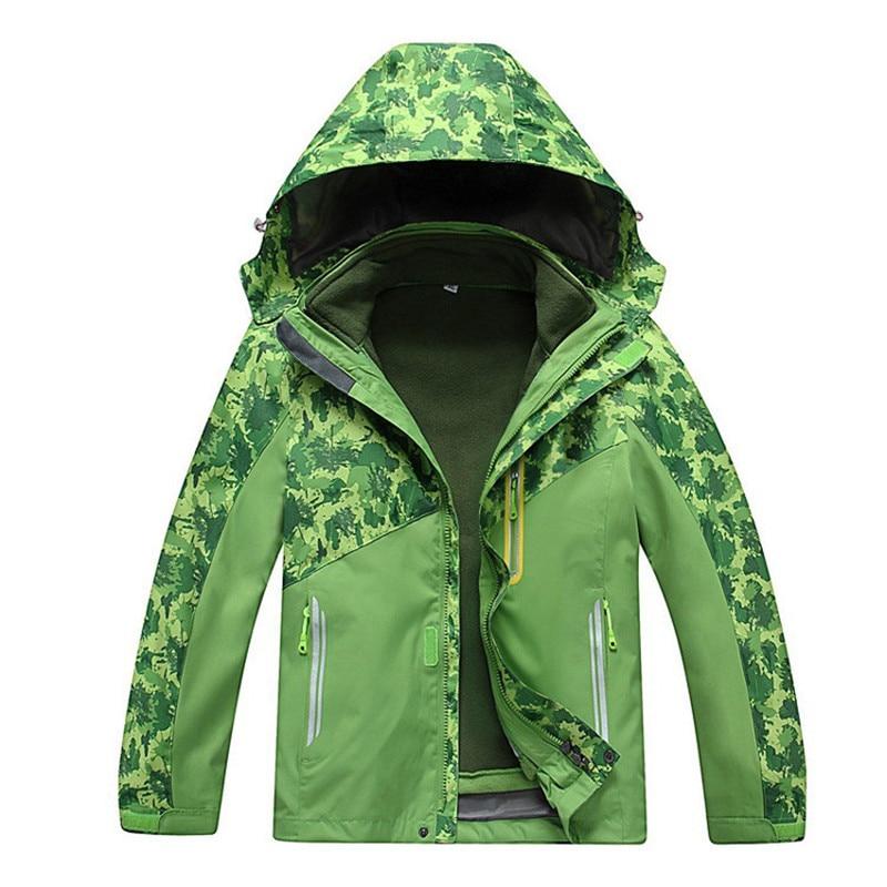 Kids Camouflage Skiing Jacket 3 In 1 Children Waterproof Windproof Fleece Coat For Boys Girls Hiking Camping Trekking Coats