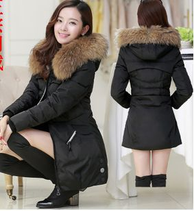 Winter Parka Thick Overcoat Slim Fashion Long Coat Outerwear Hooded Colloar With Fur Women Long Duck Down Coat jacket